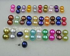 Gorgeous 30 Pairs 6 9mm Similar Multi Colored Freshwater Pearl Earrings Studs