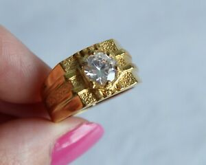 Chunky Vintage Gold Plated Mens Signet Style Ring Glass Clear Stone R 1/2