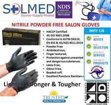 TATTOO SALON GLOVES BLACK NITRO POWDER FREE MEDIUM (100/BOX) TEXTURED FINGERS