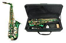 NEW Merano Eb Green Alto Saxophone,Case Student Orchestra Beginner Intermediate