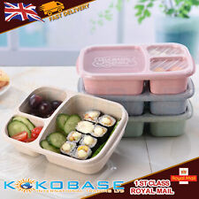 UK Lunch Box Food Container Bento Boxes With 3-Compartment Microwave School
