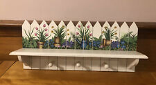 Wooden White Coat Rack Wall Mounted W/3 Pegs Display Shelf Floral Design