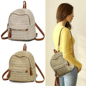 Straw Backpack Fashion Weave Mini Rucksack Travel Beach Satchel School Bags