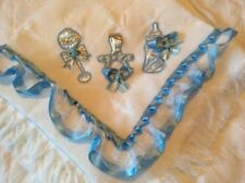 Romany Baby Shawl with Blue and Silver Dummy Rattle and Bottle
