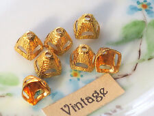 #1557E Vintage Gold Plated Bead Caps Filigree 7mm Cone Ornate Victorian Rare NOS