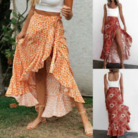 ❤️ Women's Sexy Boho Floral Ruffle Belted Slit Skirt Ladies Casual Swing Dress