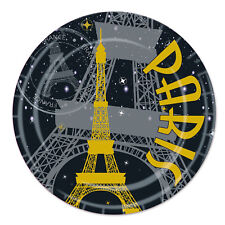 "8 ct PARIS FRANCE French Parisian Eiffel Tower 9"" Paper Plates Birthday Party Ta"