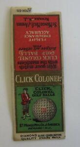Old Vintage 1920's - CLICK COLONEL - GOLF BALLS Newark NJ - MATCHCOVER - Bobtail