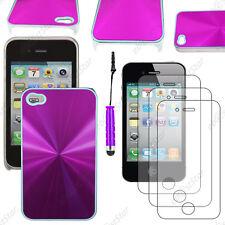 Housse Coque Rigide style chrome Violet Apple iPhone 4S 4+Mini Stylet+3 Films