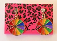 Betsey Johnson Crystal Rhinestone Enamel Rainbow Pie Post Earrings