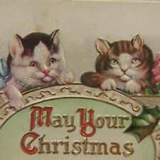 ANTIQUE CHRISTMAS POSTCARD WITH 2 CUTE CATS