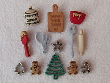 DRESS IT UP BUTTONS ~ CHRISTMAS COOKIES ~BAKING~CUTTERS~ BOWL ~ SPOONS ~ TREE +
