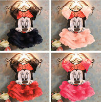Kids Baby Girls Princess Skirt Minnie Mouse T-Shirt Tutu Dress Outfits Set 2-10Y
