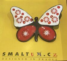 Butterfly Brooch Designed In Praque Bnib Smalt Red/White Enamel On Metal