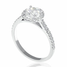 1 Carat Wedding Round Cut Enhanced Diamond Engagement Ring D/VS2 14K White Gold