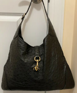 100% AUTHENTIC WOMENS GUCCI JACKIE LARGE BLACK OSTRICH LEATHER HOBO BAG