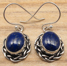 925 Silver Plated Wholly Unique Jewelry Natural Lapis Lazuli Artisan Earrings !