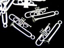 20 Pcs - Tibetan Silver Trumpet Charms Music Instrument Jewellery 35mm - C4