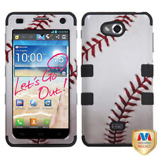 For MetroPCS LG Spirit 4G MS870 IMPACT TUFF HYBRID Case Phone Cover Baseball