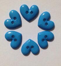 6 X Small Heart Plastic Buttons - Australian Supplier