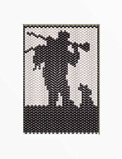 After The Hunt~Hunter And His Dog~Beaded Banner Pattern Only