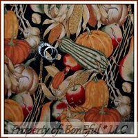 BonEful Fabric FQ Cotton Quilt VTG Fall Pumpkin Orange Thanksgiving Food Harvest