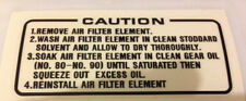HONDA TL125 TL250 AIR FILTER INFORMATION CAUTION WARNING DECAL
