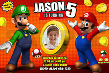 SUPER MARIO BROS BIRTHDAY PARTY INVITATION PHOTO BROTHERS CUSTOM luigi 1ST - C2