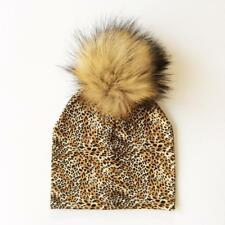 Baby Hat Faux Raccoon Fur Hats Artificial Girls and Boys Winter Pompom Cap New