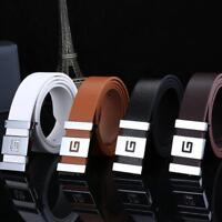 Men Women Automatic Buckle Waist Belts Strap Leather Belts Business Buckle Belt