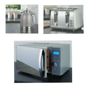 NEW - Sparkle Silver 4 Slice Toaster, Kettle and Microwave (Multi) Set