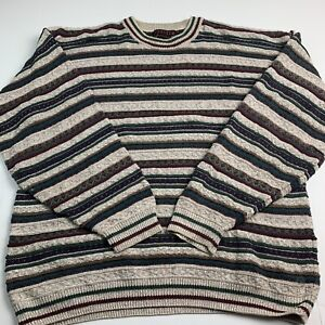 Jantzen Mens Sweater Crewneck Pullover Textured Jacquard Stripe Multicolor XL