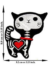 Skull Cat X-ray Skeleton Red Heart Cartoon Devil Applique Iron on Patch Sew DIY