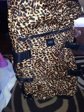 Victorias Secret Pink Leopard Print Wheelie Luggage Travel Suitcase Bag Rare
