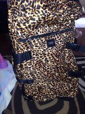 Victorias Secret Pink Leopard Print Wheelie Luggage Travel Suitcase Bag Rare