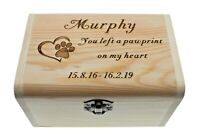 Pet Ashes Casket Memory Memorial Box Personalised Wood Dog Urn Keepsake Gift