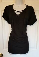 Dress Barn blk 'Sunday' short sleeve sweatshirt Sz LG ~ tie ~ casual ~ very soft