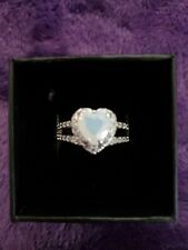 NIB Size 9 RING BOMB RING MOONSTONE AND WHITE TOPAZ ON RHODIUM PLATED BAND!!