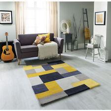 Modern Abstract Geometric YELLOW GREY High Quality Hand woven Wool Rugs & Runner