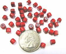 Glass Beads Red Tube 4 x 4 mm Small 100 pcs DIY Jewelry Craft Making