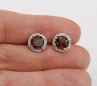 2ct Round Cut Red Garnet Floral Halo Stud Women Earrings 14k Yellow Gold Finish
