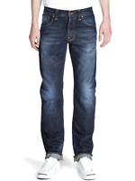 Nudie Herren Regular Fit Jeans Hose   Straight Alf Organic Contrast Indigo