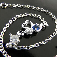 Sapphire Diamond Simulated Swan Design Anklet Bracelet 925 Sterling Silver S/F
