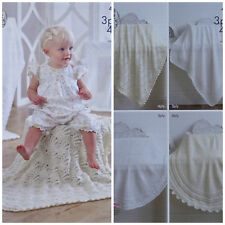 Baby KNITTING PATTERN Square & Circular Lacy Blankets 3ply & 4ply King Cole 4943