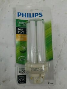 Philips 100W Equivalent Soft White GX24 Base PL-T CFL Light Bulb 458455-LOT OF 5