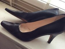Ladies Hobbs Black Leather Court Shoes Stilettos Size39 6UK