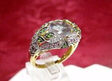 CHUCK CLEMENCY 925 STERLING SILVER MYSTIC TOPAZ DIAMONDS & GEMS RING SIZE 10.25