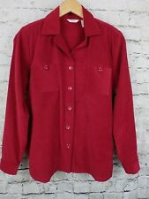 Christopher & Banks Womens Top Red Chamois Moleskin Long Sleeves Pockets Sz S
