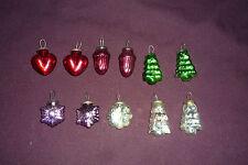 Lot of 11 Mercury Glass Christmas Ornaments Vintage Kugel Style Hearts Trees