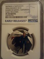 2016 Canada 1/2 OZ Batman V Superman PF 70 Early Releases Matte Silver Coin